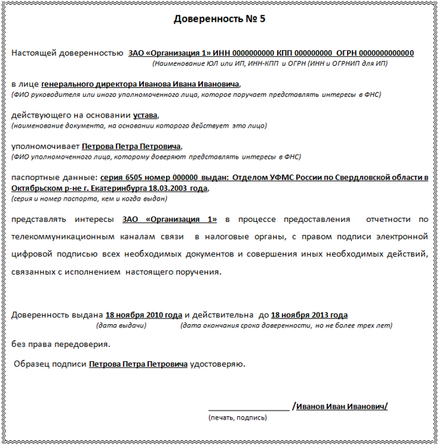Доверенность на сдачу отчетности в налоговую: особенности документа