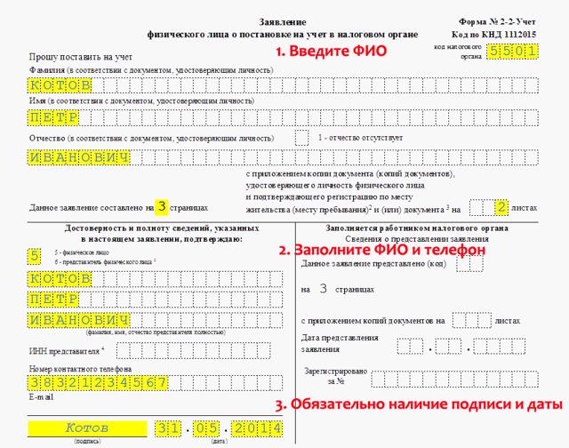 Заявление на получение ИНН: как встать на учет в ФНС?