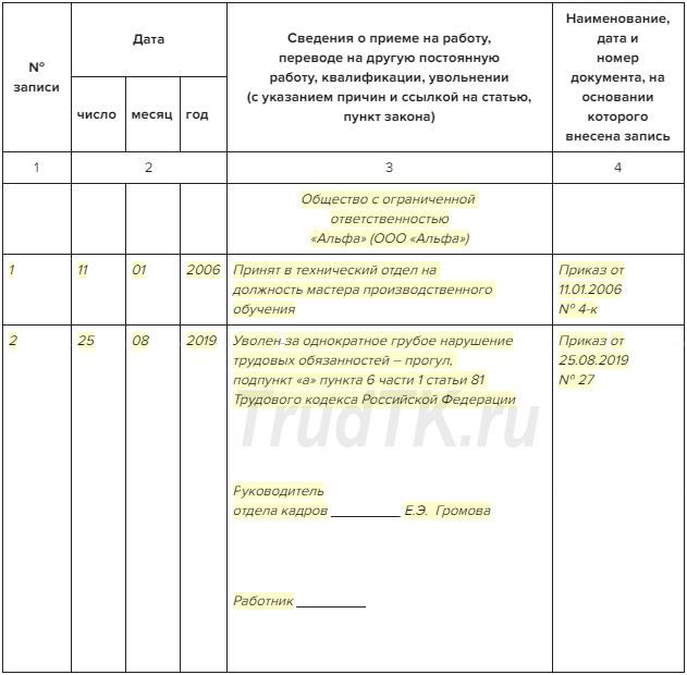 Формулировка записи в трудовой книжке при увольнении по собственному желанию или за прогул