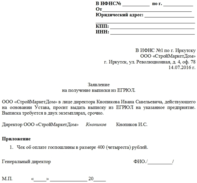 Заявление на получение выписки из ЕГРЮЛ в ИФНС- как заполнить запрос, подать его в налоговую и получить сведения об организации?