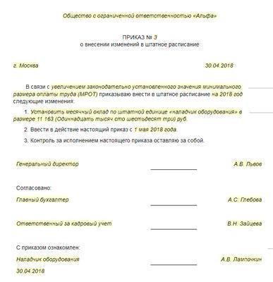Приказ об изменении в штатном расписании с связи с изменением оклада: как правильно делать внесение, если произошло увеличение ставки выше МРОТ, образец документа
